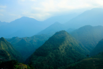 Blue cool feeling of panoramic scene of mountains in nature, makes peaceful and calm emotion to mind