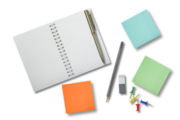 Blank notebook, pen, pencil, eraser and square stickers isolated on white background