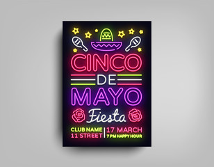 Cinco de Mayo poster design neon style template. Neon sign, bright light neon flyer, light banner, typography, Mexican holiday. Invitation to party, festival, celebration, fiesta. Vector illustration