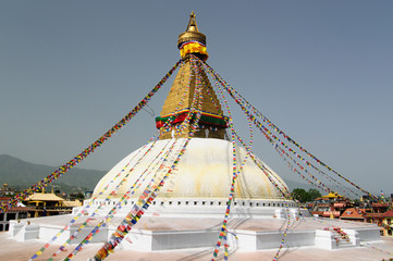 View on the Boudhanath stupa in Kathmandu, Nepal (Unesco's World Heritage site)
