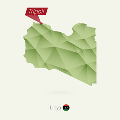 Green gradient low poly map of Libya with capital Tripoli