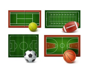 Set of sports grounds and equipment