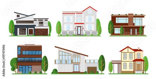 Vector Illustration Set Of Home Exterior Design. Modern Apartment, Cottage,  Building Concept Cottage