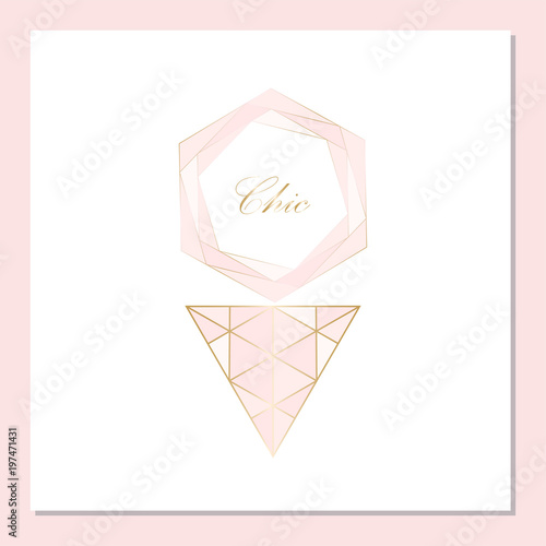 Trendy Chic pastel colored card with Gold geometric shapes Creative