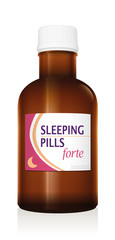 Sleeping pills medicine bottle vial. Isolated vector illustration over white background.
