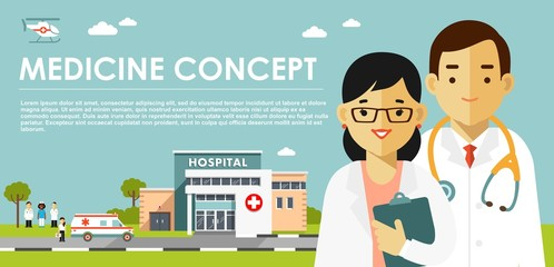 Medicine concept with doctors in flat style isolated on blue background. Practitioner young doctor man and woman, hospital building, ambulance car and helicopter. Medical staff.
