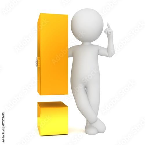 idea man 3d gold brainstorming stick figure exclamation mark point