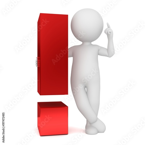 exclamation mark red 3d exclamation point man figure person pointing