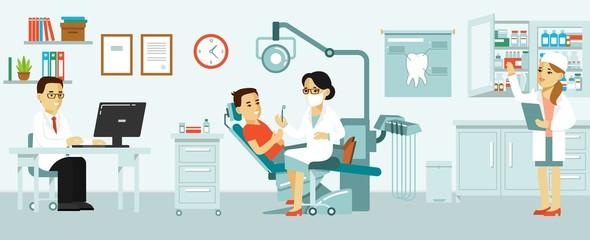 Medicine dental office concept in flat style. Hospital interior with workplace, equipment, instruments. Young doctor woman and patient man in dentist chair.