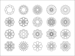 Monochrome floral icon set of 20 silhouette flowers Isolated on white background. Stylized summer or spring flowers, floral design elements. Vector illustration