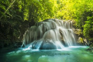 The Beautiful water fall Huay Mae Kamin in Kanjanaburi,Thailand