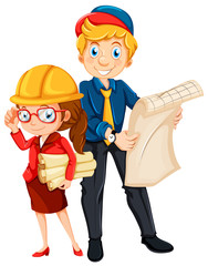 Male and female engineer with blueprint