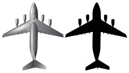 Airplane design with silhouette on white background