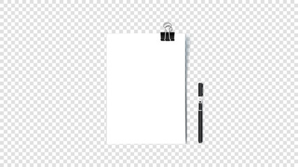 Empty A4 Paper Blank With Binder Clip. Isolated On Transparent Background Vector Illustration