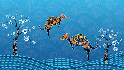 Aboriginal art vector painting with kangaroo. Illustration based on aboriginal style of landscape dot background.