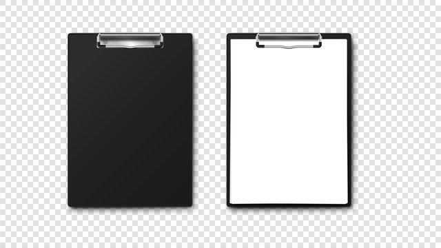 Empty Paper Holder And Clipboard With A4 Paper Stack. Isolated On Tansparent Background Vector Template