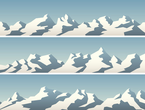Set of simple banner with snowy mountains.