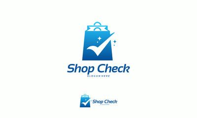 Shop Check logo designs concept vector, Safe Shop logo designs vector