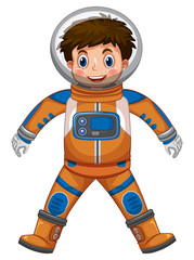 Happy boy in astronaut costume