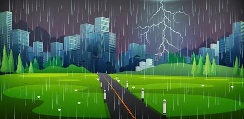 City scene on thunderstorm night