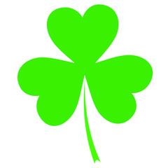 Shamrock vector icon, Saint Patricks Day symbol on white background