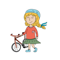 A girl with pigtails on a bike ride in a dress