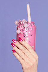 Pink Nails. Woman With Soda Can In Hands