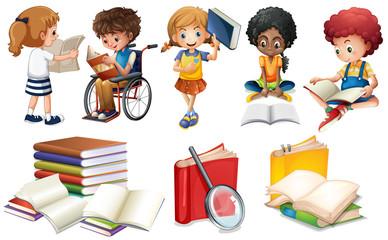 Kids reading books on white background