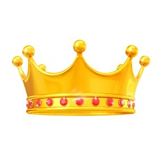 King's crown made of gold with red rubies isolated on white background 3d illustration