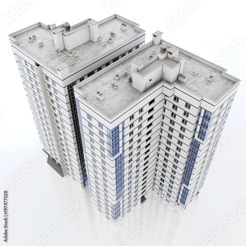 3d modern high rise building on white background 3D