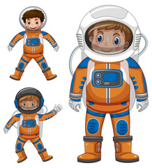 Three kids in astronaut outfit