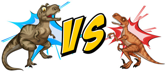 Tyrannosaurus fighting with raptor