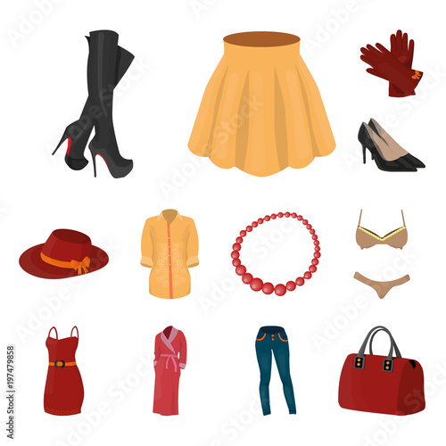 34a71778fc4 Women Clothing cartoon icons in set collection for design.Clothing  Varieties and Accessories vector symbol stock web illustration.