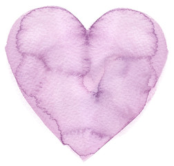 Simple big pastel purple heart painted in watercolor on clean white background
