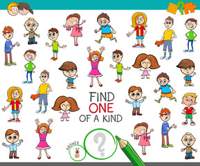 find one of a kind game with kid boys and girls
