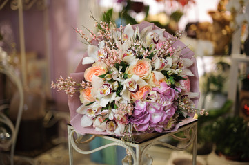 Wonderful bouquet of orchids, roses and hydrangea