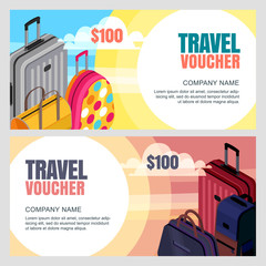 Vector travel voucher template. 3d isometric illustration of multicolor luggage, suitcase, bags. Concept for summer vacation, travel agency. Banner, coupon, certificate, flyer layout.
