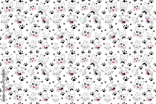 Pattern Background Cats Wallpaper Texture Drawing Fotos De