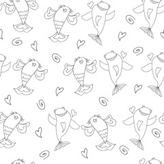Cute fish seamless pattern vector black and white