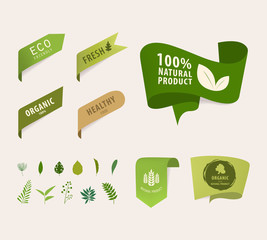 natural tag ribbon and organic label green color. eco banner vector design.