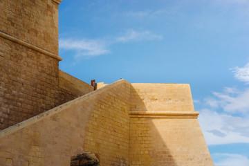 Victoria, Gozo. Ancient walls of Citadel built of limestone