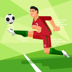 Portuguese football player in a red uniform is hitting the soccer ball. Vector illustration in a flat style.