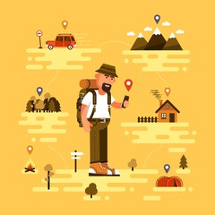 Bearded traveling tourist uses smartphone to find location. Icons of GPS, car, mountains with clouds, tent, fire, forest and country house. Vector illustration.