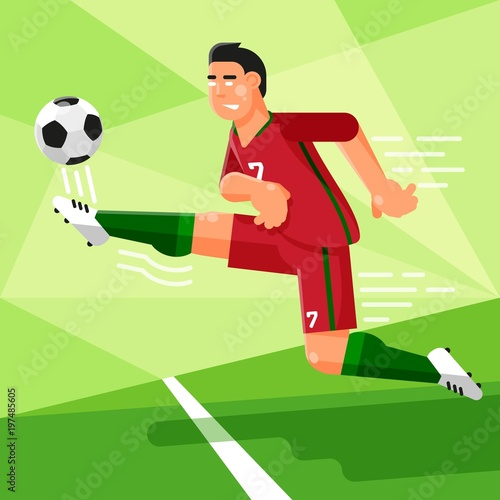 acd076c75 Portuguese football player in a red uniform is hitting the soccer ball. Vector  illustration in a flat style.