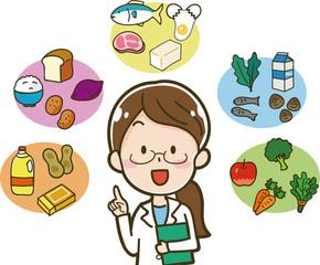 5大栄養素と栄養士のイラスト素材