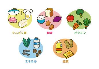 5大栄養素のイラスト素材