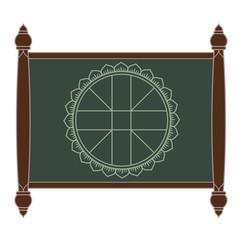 Wheel chart for Thai astrology on slate board, Symbol of Thai astrology.