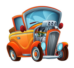 cool looking cartoon hod rod cabriolet on white background - illustration for children