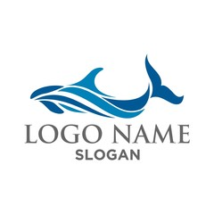 whale wave logo vector