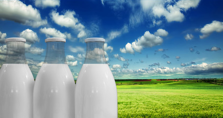 Milk in bottles against the background of summer meadow and sky